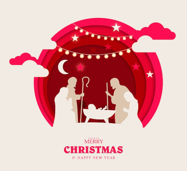 Merry christmas and happy new year. christmas composition in paper art and digital craft style.