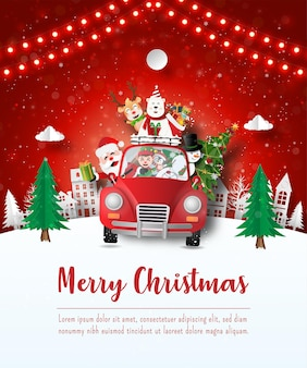 Merry christmas and happy new year, christmas postcard of santa claus and friend in a red car in the village, paper art style
