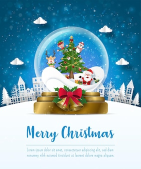 Merry christmas and happy new year, christmas postcard of santa claus and friends in a christmas ball, paper art style