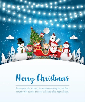 Merry christmas and happy new year, christmas postcard of santa claus and friends in the village, paper art style