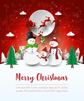 Merry christmas and happy new year, christmas postcard of snowman in the village, paper art style
