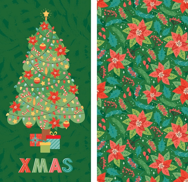 Merry christmas and happy new year! christmas tree is decorated with toys, poinsettia, garland, candy cane, gifts. holiday design template in traditional style for cards banner, greetings, invitation