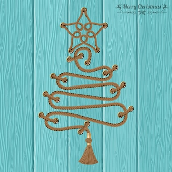 Merry christmas and happy new year concept. decorative christmas tree from ropes with rivets and star on wooden boards background. vector illustration