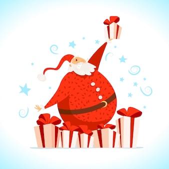 メリークリスマス、新年あけましておめでとうございます。 。漫画のスタイル。クリスマスのポストカード、カード、広告、フレアに適しています。