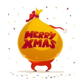 С рождеством христовым, с новым годом поздравление. . мультяшный стиль. подходит для рождественской открытки, открытки, рекламы, живодера,.