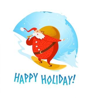 С рождеством христовым, с новым годом поздравление. санта-клаус персонаж верхом на сноуборде портрет. мультяшный стиль. подходит для рождественской открытки, открытки, рекламы, живодера,.