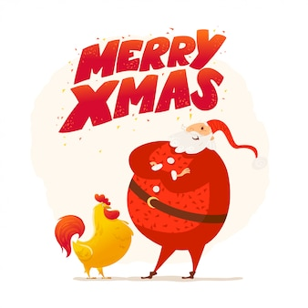 メリークリスマス、新年あけましておめでとうございます。サンタクロースの面白いキャラクター。かわいい鶏の肖像画。漫画のスタイル。クリスマスのポストカード、カード、広告、フレアに適しています。