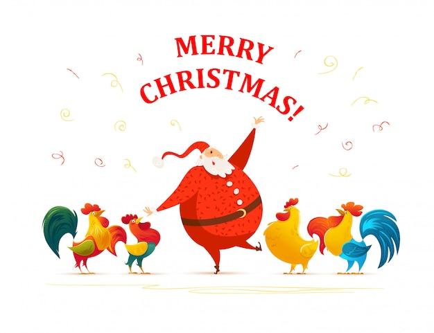 С рождеством христовым, с новым годом поздравление. санта-клаус забавный персонаж. симпатичный портрет петуха. мультяшный стиль. подходит для рождественской открытки, открытки, рекламы, живодера,.