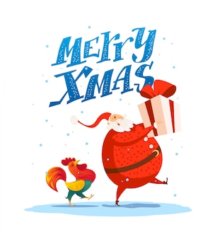 Merry christmas, happy new year congratulation . santa claus funny character. cute rooster portrait. cartoon style. good for xmas postcard, card, , advertisement, flayer, .