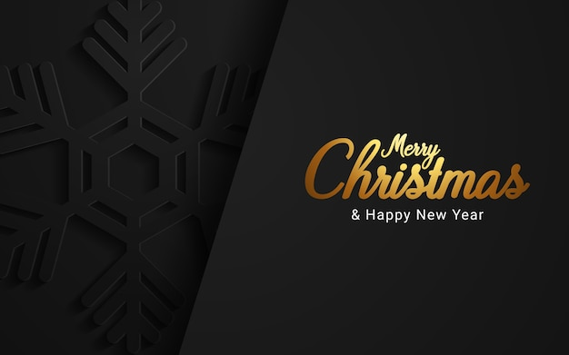 Merry christmas and happy new year on dark background