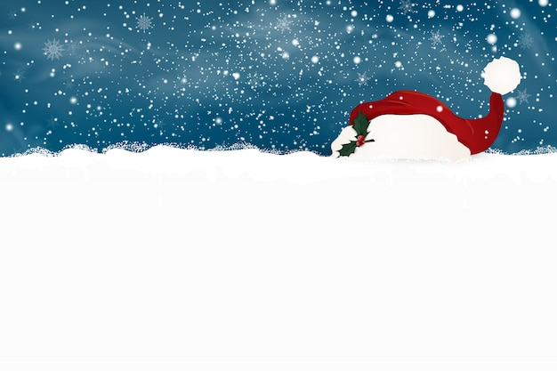 Merry christmas. happy new year. design template for blank sign with falling snow