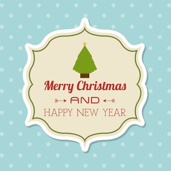 Merry christmas and happy new year  over dotted background  vector illustration