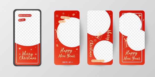 Merry christmas and happy new year editable story template collection