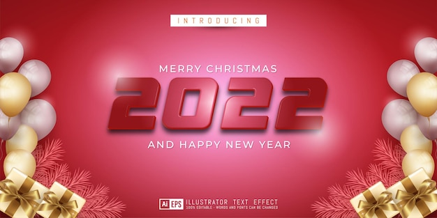 Merry christmas and happy new year editable text style