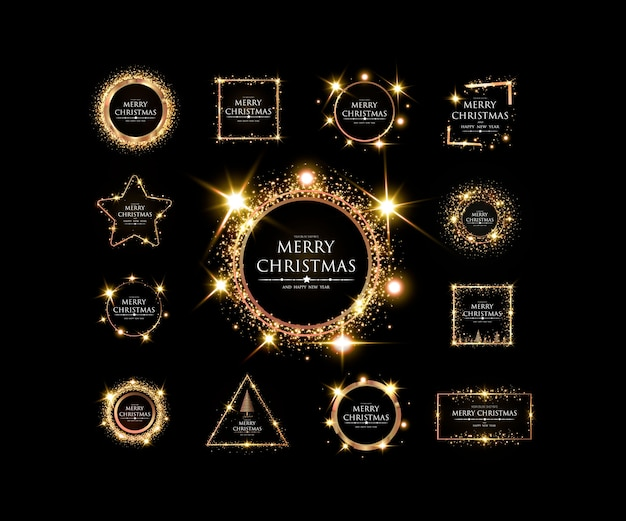 Merry christmas and happy new year elegant golden frame