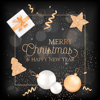 Merry christmas, happy new year elegant greeting card with gift box, balls and festive decoration in gold color with glitter on blurred background with golden frame and typography. vector illustration