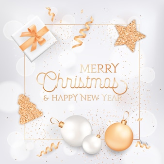 Merry christmas and happy new year elegant greeting card with gift box, balls and festive decoration in white and gold colors with glitter on blurred background with golden frame and typography