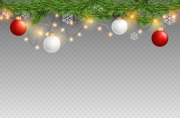 Merry christmas and happy new year elements on transparent background