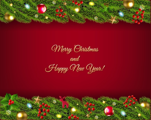 Merry christmas and happy new year fir tree garland with toys and ball