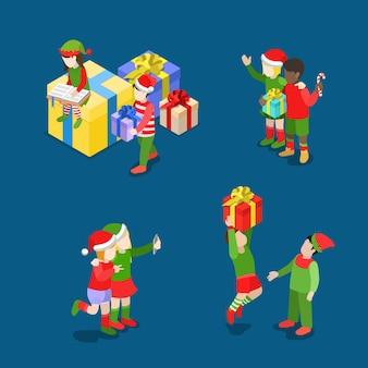 메리 크리스마스 해피 뉴 평면 아이 소메 트리 아이소 메트릭 개념 웹 어린이 아이콘 템플릿 세트 트롤 의상 흰색 흑인 소년 소녀 사탕 지팡이 선물 selfie 크리 에이 티브 겨울 휴가 컬렉션