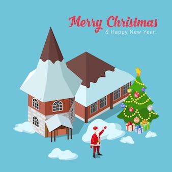 メリークリスマス新年あけましておめでとうございますフラットアイソメ等長図コンセプトウェブインフォグラフィックイラストリーフレットチラシカードはがき休日テンプレートスプルースモミの木の家とサンタクロース