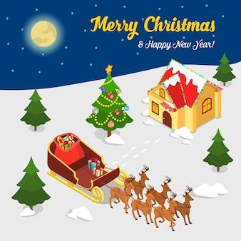 메리 크리스마스 해피 뉴 평면 아이 소메 트리 아이소 메트릭 개념 웹 인포 그래픽 전단지 전단지 카드 엽서 서식 파일 산타 마을 집 순록 팀 썰매 선물 가방 가문비 나무 전나무
