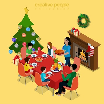 Merry christmas happy new year flat isometry isometric concept web infographics leaflet flyer card postcard template spruced fir tree family dinner fireplace socks creative winter holidays