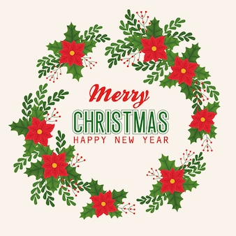 Merry christmas happy new year flowers with leaves design, winter season and decoration