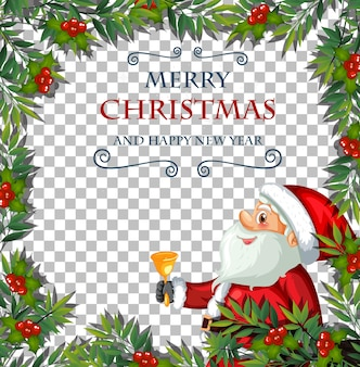 Merry christmas and happy new year font with leaf frame and santa claus on transparent background