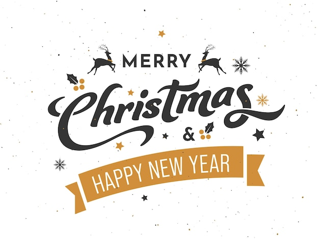 Merry christmas and happy new year font with reindeer on white background