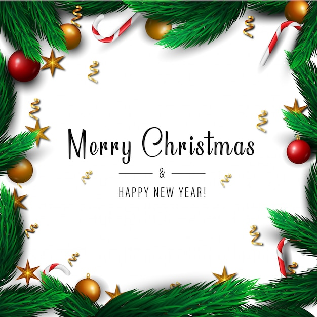 Merry christmas and happy new year frame background for winter holidays.