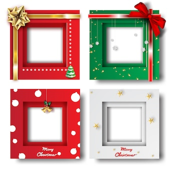 Merry christmas and happy new year frame photo