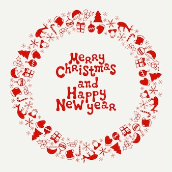 Merry christmas and happy new year frame.