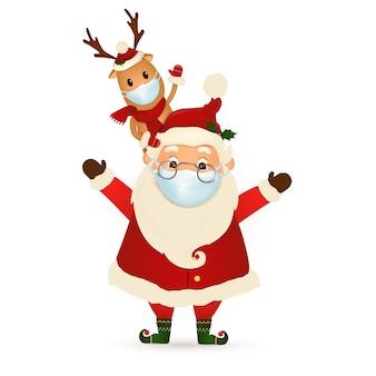메리 크리스마스 해피 뉴가 어 재미있는 산타 클로스와 귀여운 순 록