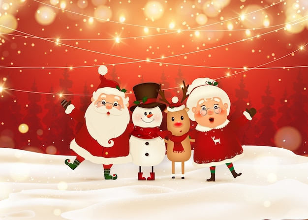 Merry christmas. happy new year. funny santa claus with mrs. claus, red-nosed reindeer, snowman in christmas snow scene winter landscape. mrs. claus together.  cartoon character of santa claus.