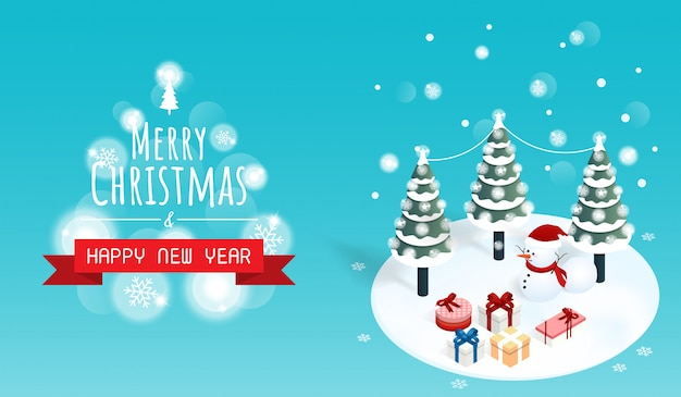Merry christmas and happy new year gift box banner