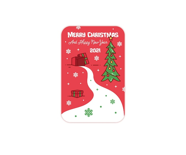 Merry christmas and happy new year gift greeting card