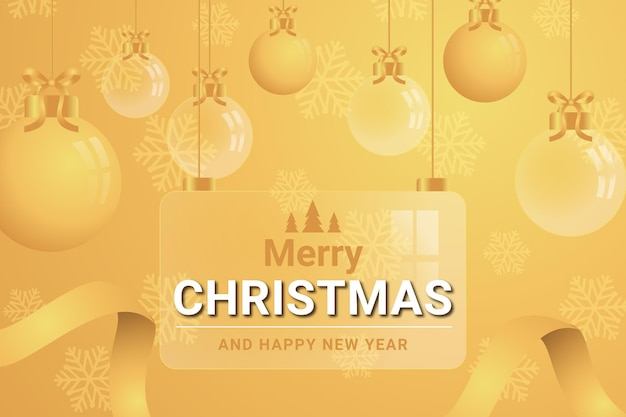 Merry christmas and happy new year on glass background