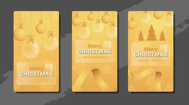 Merry christmas and happy new year on glass instagram stories template