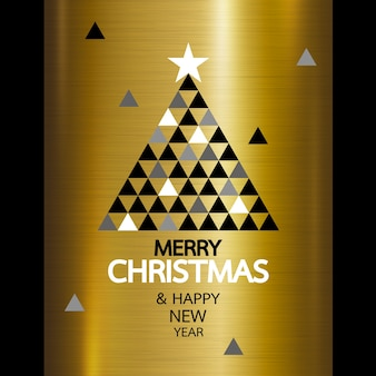 Merry christmas and happy new year on gold metal