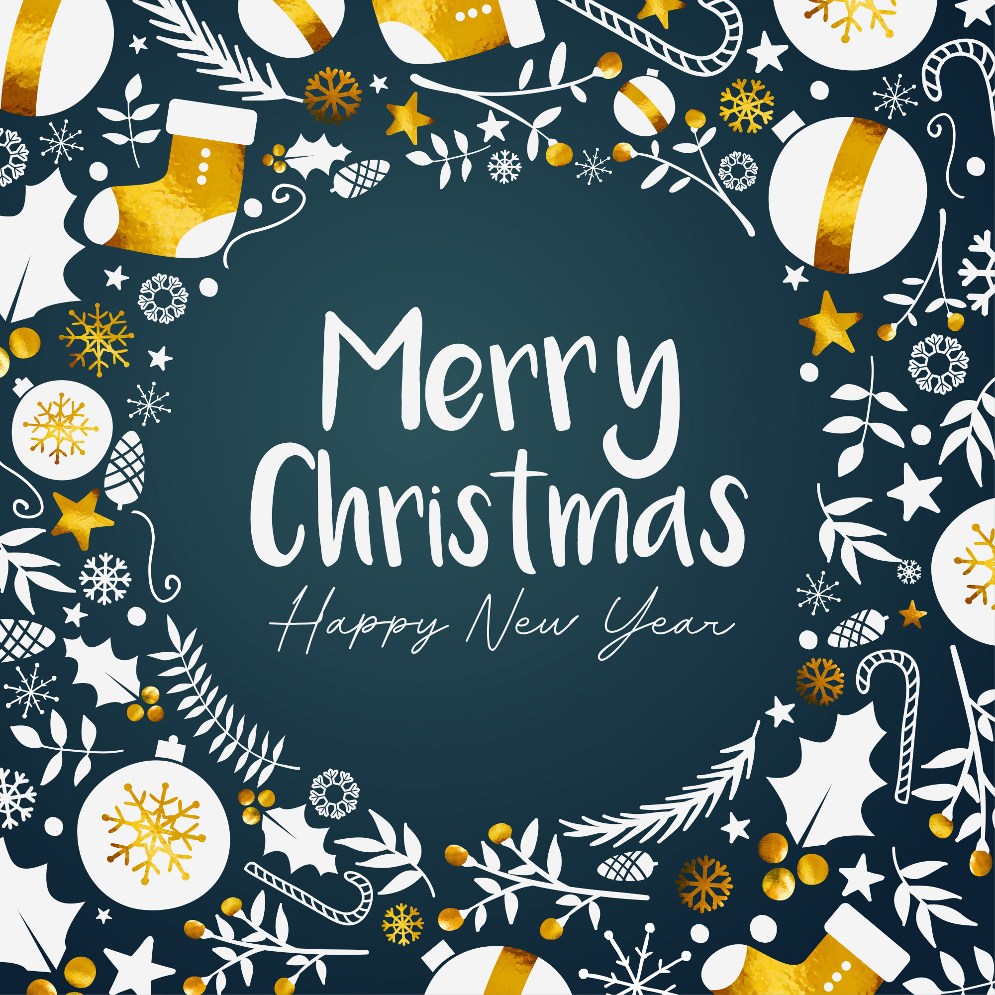 Merry Christmas Happy New Year Golden Dark Teal Background