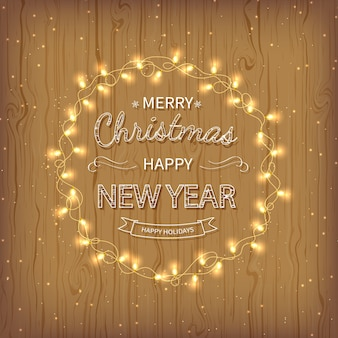 Merry christmas happy new year golden greeting background  xmas card with garlands golden confetti