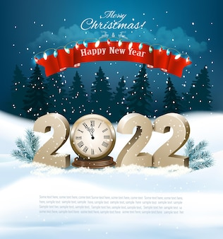 Merry christmas and happy new year golden numbers with clock branch of tree on a winter land