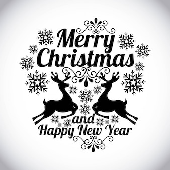 Merry christmas and happy new year  over gray background  vector illustration