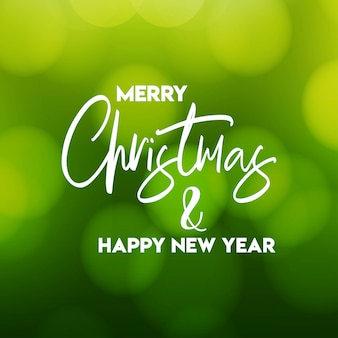 Merry christmas and happy new year green background