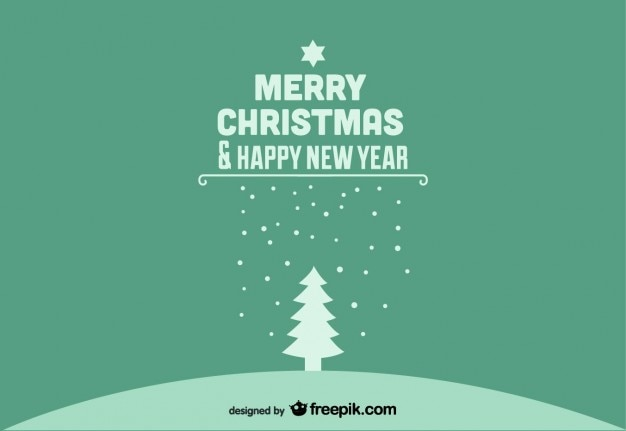 Merry christmas & happy new year green postcard