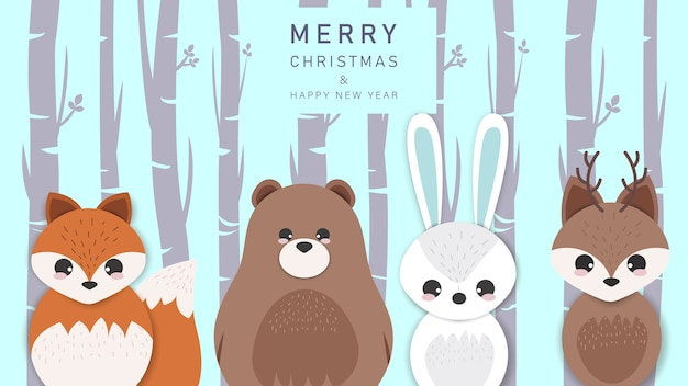 Merry christmas and happy new year greeting background with cartoon animals