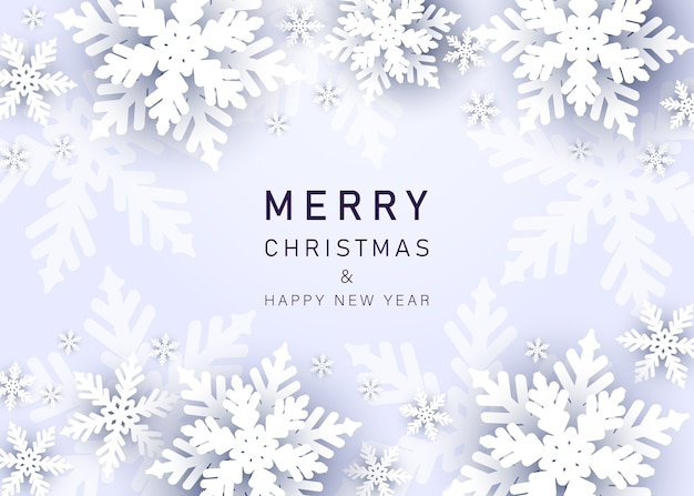 Merry christmas and happy new year greeting background with snowflakes