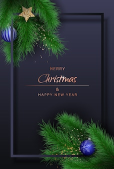 Merry christmas and happy new year greeting background with spruce branches