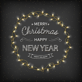 Merry christmas happy new year greeting background wreath garland golden confetti xmas card